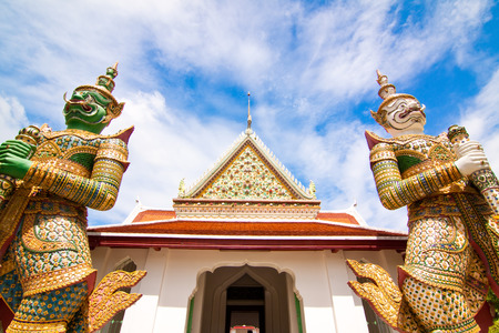 Front of Wat Arun with wide view of Thailand photo