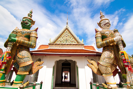 Wide view in temple of dawn, Bangkok of Thailand photo