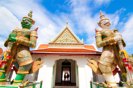 Soften wide view in temple of dawn, Bangkok of Thailand photo