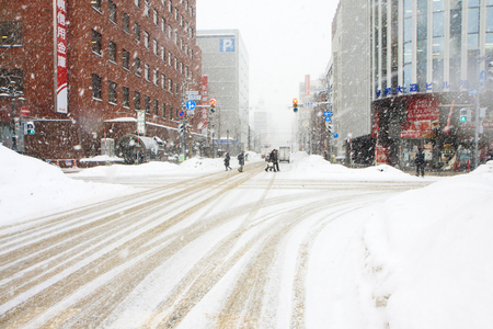 Strom: Snow strom on the street in Sapporo Editorial