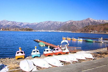 kawaguchi ko: Swan boat in Kawaguchi lake in Japan Stock Photo