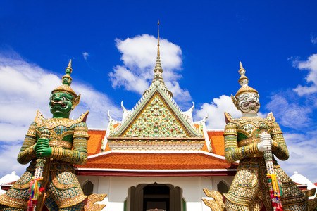 Front of dawn temple in Bangkok of Thailand photo