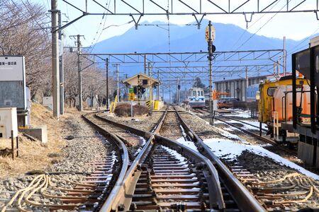 infra construction: Railway in winter of Japan