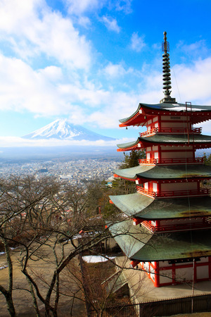 chureito: Red chureito pagoda with fujiyama mountain
