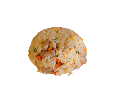 isolation: Isolation of fried rice with egg and pork on the dish