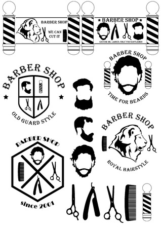Barber shop sign with field between two barber poles, two bearded men with scissors and razor and slogan. Vector  イラスト・ベクター素材