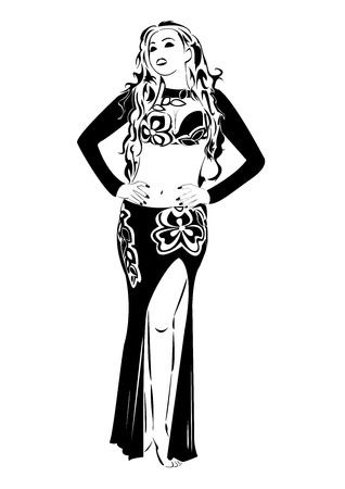 exotic dancer: Figure of beautiful women in belly dance costume. Costume is covered with flowers. Women has a gorgeous haircut and make-up.