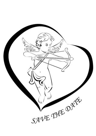 he is beautiful: Little cupid with bow and arrow framed in heart silhouette. Cupid with beautiful curvy hair and two little wings. He aimed and ready to shoot with heart-shaped tip arrow Illustration