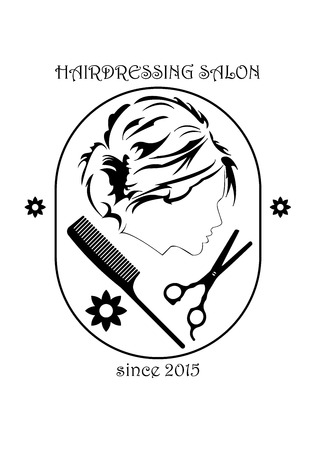 hairdressing salon: Hairdressing salon sign with beautiful women head silhouette. Women has nice haircut. Also on sign can be found hairdressing tools - scissors and comb. Illustration