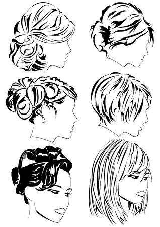 Set of profiles of women with elegant haircut. Can be used as part of hairdressing salon or barber shop sign Иллюстрация