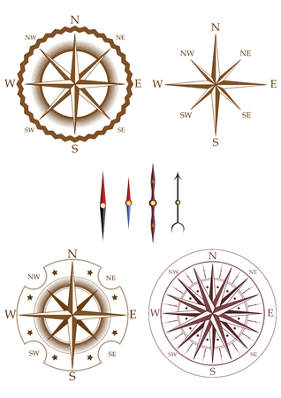 Set of compass elements isolated on white background. Collection of elements for company logos, business identity, print products, page and web decor or other design. Vector illustration.