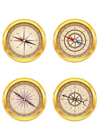 brujula: Conjunto de brújulas de oro aisladas sobre fondo blanco. Puede ser utilizado para logotipos de empresa, identidad del negocio, productos de impresión, la página web y la decoración o el otro diseño. Ilustración del vector.