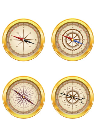 compass: Set of golden compasses isolated on white background. Can be used for company logos, business identity, print products, page and web decor or other design. Vector illustration.