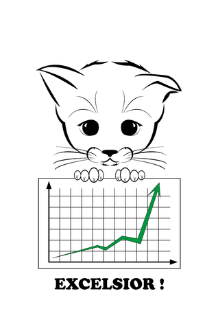 excelsior: Boso, calm kitten, darling of fortune. Kitten hold business diagramm  with successfull growth result. Calm smile is playing on his muzzle. Black vector illustration isolated on white background. Illustration