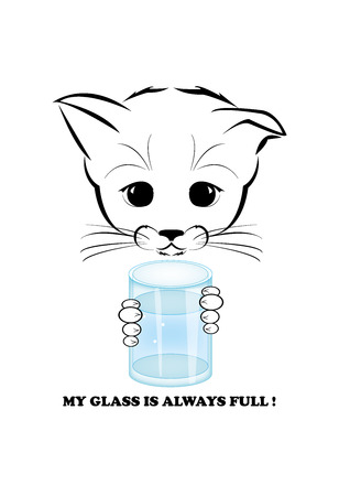 whisker characters: Boso, calm and happy kitten, darling of fortune. Calm smile is playing on his muzzle. He holds glass full of water and confident about future. Black vector illustration isolated on white background.