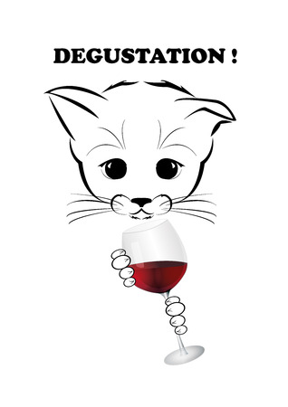 cat's eye glasses: Boso, calm and happy kitten, darling of fortune. Calm smile is playing on his muzzle. He holds glass of old red wine with excellent flavor. Black vector illustration isolated on white background.