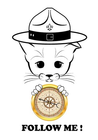 compass vector: Boso, calm and happy kitten, darling of fortune. Calm smile is playing on his muzzle. With golder compass in his paws he knows direction. Black vector illustration isolated on white background. Illustration