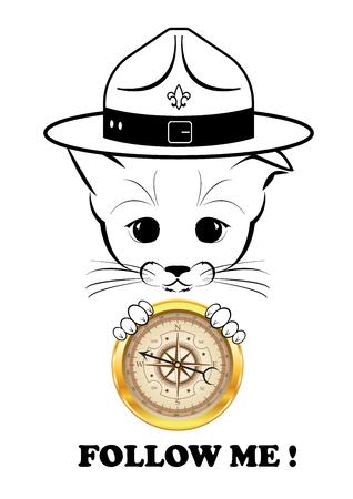 compas de dibujo: Boso, gatito tranquilo y feliz, ni�o mimado de la fortuna. Sonrisa calma est� jugando en el hocico. Con la br�jula golder en sus patas que sabe la direcci�n. Ilustraci�n vectorial negro aislado sobre fondo blanco. Vectores