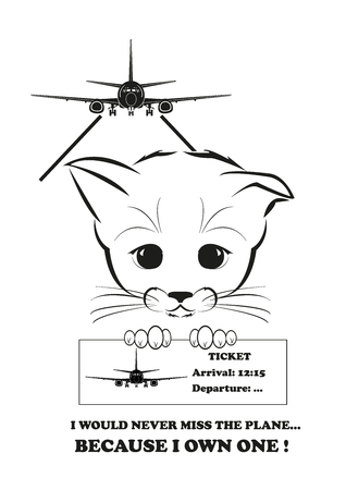 whisker characters: Boso, calm and happy kitten, darling of fortune. Calm smile is playing on his muzzle. He will never miss the plane because he owns one. Black vector illustration isolated on white background.