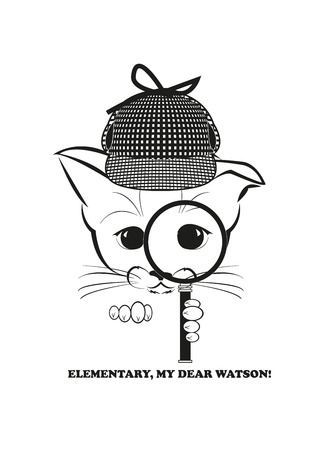 whisker characters: Boso, calm and happy kitten, darling of fortune. He holds magnifier in his paw and is able to solve any mystery. Black vector illustration isolated on white background. Illustration