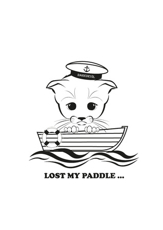 drifting: Totono, saddest kitten in the world.  He lost his paddle and now his boat just drifting along the stream. And all sadness of the world is in his eyes. Black vector isolated on white background. Illustration