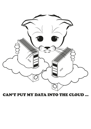 fails: Totono, saddest kitten in the world. He is trying to put his data into the cloud, but fails. And all sadness of the world is in his eyes. Black vector illustration isolated on white background. Illustration