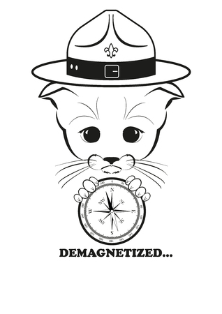 brujula: Totono, gatito m�s triste del mundo. �l sostiene la br�jula rota en sus patas y perdi� su direcci�n. Y todo tristeza del mundo est� en sus ojos. Ilustraci�n vectorial negro aislado sobre fondo blanco.