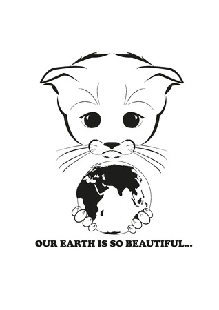 delighted: Totono, saddest kitten in the world.  He  holds Earth globe in his paws and he is delighted by its beauty. Black vector illustration isolated on white background.