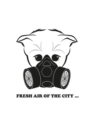 whisker characters: Totono, saddest kitten in the world. He wears gas mask - this is the only way to breathe in modern cities. And all sadness of the world is in his eyes. Black vector isolated on white background. Illustration