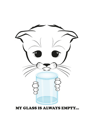 failures: Totono, saddest kitten in the world. His glass is always empty - only failures along his life path. And all sadness of the world is in his eyes. Black vector illustration isolated on white background