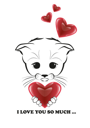 he is beautiful: Totono, saddest kitten in the world. He holds beautiful heart in his paws and he is full of love. Black vector illustration isolated on white background.