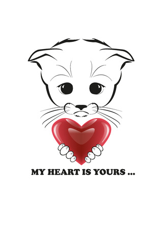 whisker characters: Totono, saddest kitten in the world. He holds heart representing all his love and ready to give it to you. Black vector illustration isolated on white background.