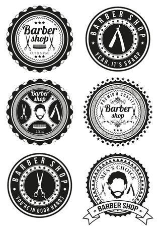 barbero: Conjunto de divisas barbería aislados sobre fondo blanco. Colección de insignias y elementos para logotipos de empresa, identidad del negocio, productos de impresión, la página web y la decoración o otro diseño. Ilustración del vector.