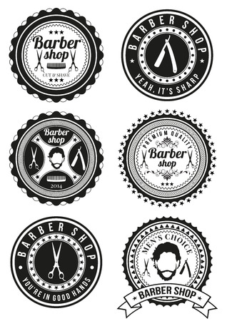 barber: Set of barber shop badges isolated on white background. Collection of badges and elements for company logos, business identity, print products, page and web decor or other design. Vector illustration. Illustration