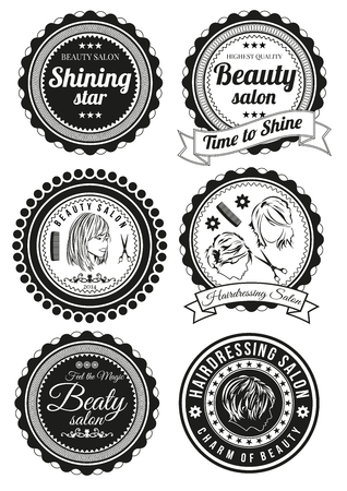 Set of beauty and hairdressing salon round badges isolated on white background. Collection of elements for company logos, print products, page and web decor or other design. Vector illustration. Illustration