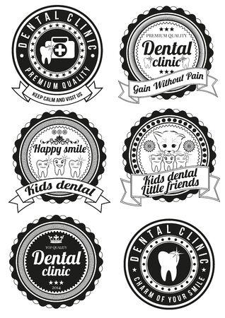 Conjunto de insignias redondas clínicas dentales aislados sobre fondo blanco. Colección de elementos de logotipos de empresas, productos impresos, página web y la decoración o otro diseño. Ilustración del vector.