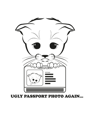 holds: Totono, saddest kitten in the world. He holds passport with ugly photo. And all sadness of the world is in his eyes. Black vector illustration isolated on white background. Illustration