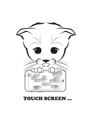 touch screen phone: Totono, saddest kitten in the world. He holds scratched phone in his paws - touch screen just cant withstand his claws. Black vector illustration isolated on white background. Illustration