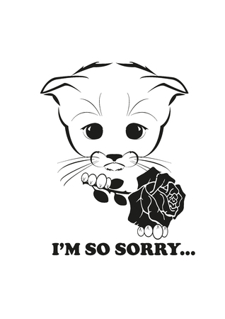 he is beautiful: Totono, saddest kitten in the world. He holds beautiful rose in his paws and looks very sorry. And all sadness of the world is in his eyes. Black vector illustration isolated on white background. Illustration