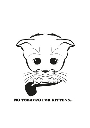 and he no background: Totono, saddest kitten in the world. He tried to smoke a pipe - but no one sells tobacco to little kitten. Black vector illustration isolated on white background.