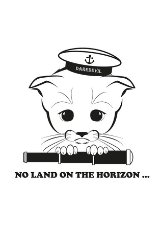 Totono, saddest kitten in the world. He wears sailor hat and holds spy glass - but there is no land on the horizon. Black vector illustration isolated on white background.