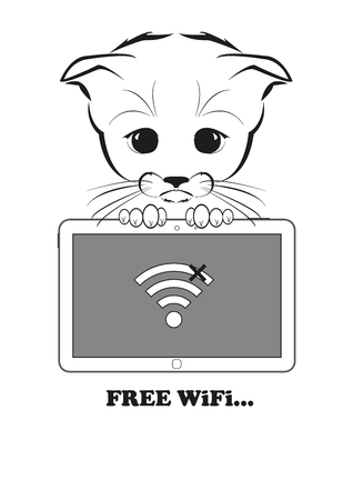 wifi access: Totono, saddest kitten in the world. He holds a tablet and want to access free wifi point - but wifi is not available. Black vector illustration isolated on white background.