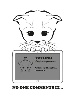 and he no background: Totono, saddest kitten in the world. He wrote an article in his blog, but no one comments on it. And all sadness of the world is in his eyes. Black vector illustration isolated on white background.
