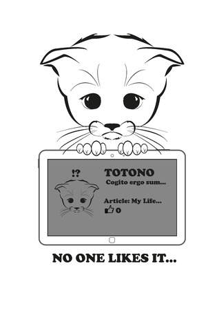 article: Totono, saddest kitten in the world. He wrote an article in his blog, but nobody likes it. And all sadness of the world is in his eyes. Black vector illustration isolated on white background. Illustration