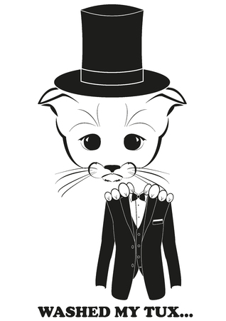Totono, saddest kitten in the world. He washed his tuxedo and now tux shrinks and does not fit any more. Black vector illustration isolated on white background.