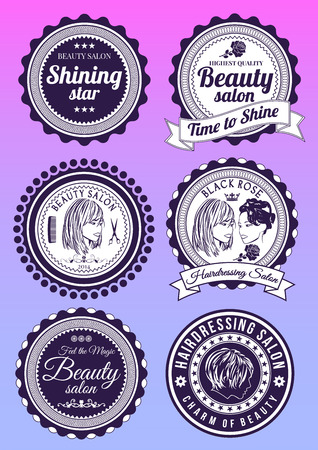 hairdressing salon: Set of beauty and hairdressing salon colored round badges isolated on gradient background. Collection of elements for company icons, print products, page and web decor. Vector illustration.