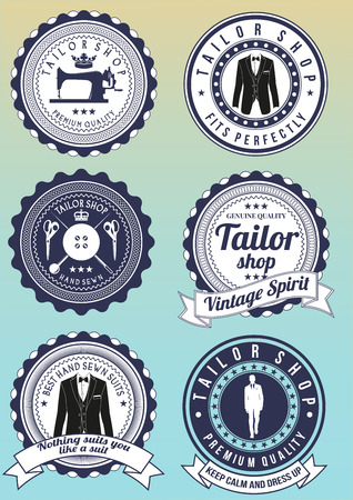 Set of tailor shop dark blue round badges isolated on gradient background. Collection of elements for company logos, print products, page and web decor. Vector illustration.