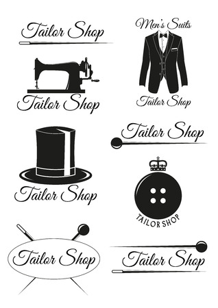 tailor suit: Set of tailor shop black badges isolated on white background. Collection of elements for company logos, print products, page and web decor. Vector illustration.