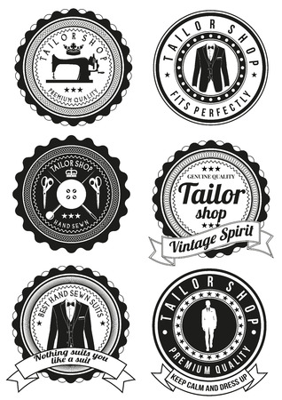 sew: Set of tailor shop black round badges isolated on white background. Collection of elements for company logos, print products, page and web decor. Vector illustration.