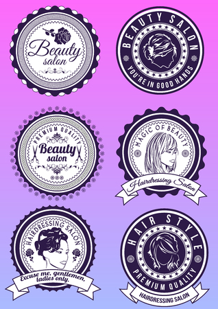Set of beauty and hairdressing salon purple round badges isolated on gradient background. Collection of elements for company logos, print products, page and web decor. Vector illustration.